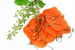 Fresh salmon with spices Royalty Free Stock Photo