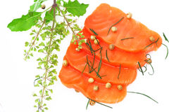 Fresh salmon with spices Stock Photos