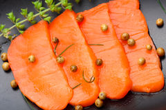 Fresh salmon with spices Royalty Free Stock Photography