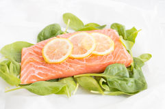 Fresh salmon with spinach and lemon Royalty Free Stock Image