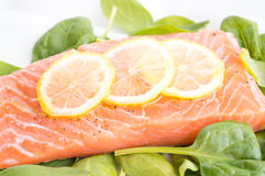 Fresh salmon with spinach and lemon Stock Photo