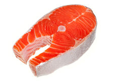 Fresh salmon steak. Over white background Stock Images