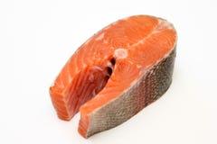 Fresh salmon steak. On white background Stock Photo