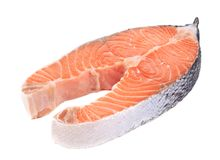 Fresh salmon steak. Stock Photo