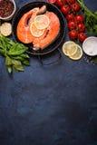 Fresh salmon steak background Royalty Free Stock Photography
