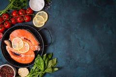 Fresh salmon steak background Stock Photos