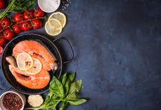 Fresh salmon steak background Royalty Free Stock Images