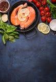 Fresh salmon steak background Royalty Free Stock Photos