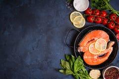Fresh salmon steak background Stock Image