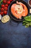 Fresh salmon steak background Stock Photography
