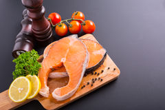 Fresh salmon steak fresh meal seafood Stock Photo