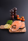 Fresh salmon steak fresh meal seafood Stock Photo