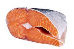 Fresh salmon steak isolated on the white background. Salmon Red Fish Steak. Large Pile of salmon steak. Big organic steaks of salm. On lined up. Big pieces raw Stock Photos