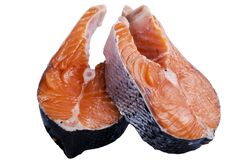 Fresh salmon steak isolated on the white background. Salmon Red Fish Steak. Large Pile of trout steak. Big organic steaks of salmo stock photo