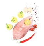 Fresh salmon steak with lemon and pepper. Stock Photo