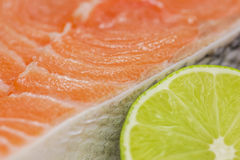Fresh salmon steak with lime Stock Photography
