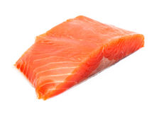 Fresh salmon steak over white background. Raw big salmon bar on the white background Stock Images