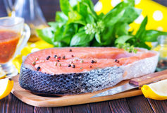 Fresh salmon. Steak with pepper and salt Royalty Free Stock Photo