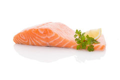 Fresh salmon steak. Royalty Free Stock Photography