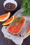 Fresh salmon steak, top view, close-up Stock Images