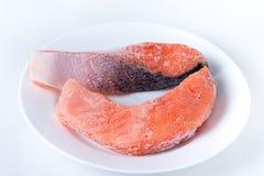 Fresh salmon steak, top view, close-up Stock Image