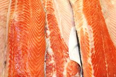 Fresh salmon steaks detail Stock Image
