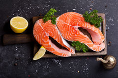 Fresh salmon steaks Royalty Free Stock Images