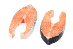 Fresh salmon steaks. Royalty Free Stock Images