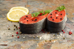 Fresh Salmon Steaks prepared for Cooking Royalty Free Stock Photos