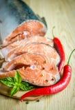 Fresh salmon steaks Stock Photography