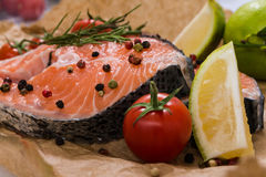Fresh salmon steaks surrounded with spices. Healthy food concept Stock Photos