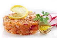 Fresh salmon tartare royalty free stock image