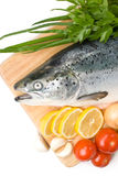 Fresh salmon with vegetables Stock Photo