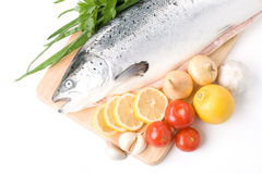 Fresh salmon with vegetables Royalty Free Stock Photography