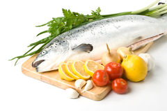 Fresh salmon with vegetables Royalty Free Stock Photos
