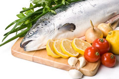 Fresh salmon with vegetables Stock Photos