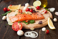 Fresh salmon with vegetables Royalty Free Stock Images