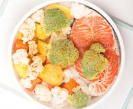 Fresh salmon with vegetables Stock Photography