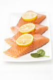 Fresh salmon on white background. Royalty Free Stock Photo