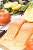 Fresh salmon on white background. Royalty Free Stock Photo