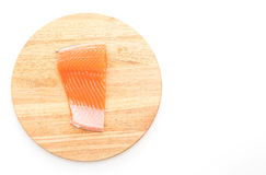 Fresh salmon on wood board Stock Images