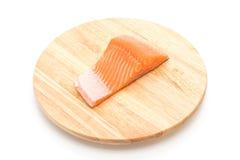 Fresh salmon on wood board Royalty Free Stock Photos