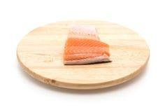 Fresh salmon on wood board Royalty Free Stock Photo