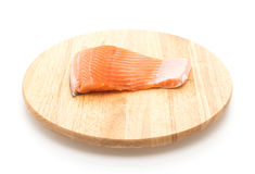 Fresh salmon on wood board Stock Photos