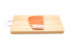 Fresh salmon on wood board Royalty Free Stock Images