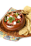 Fresh salsa dip with nacho chips Royalty Free Stock Photography