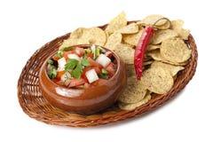 Fresh salsa dip with nachos Stock Photos