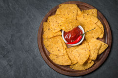 Fresh salsa  dips with nachos chips Stock Photography