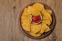 Fresh salsa  dips with nachos chips Royalty Free Stock Photo