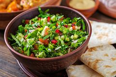 Fresh salsa salad with tomatoes, pepper,onions and herbs. Mexican vegetable salad. Vegan food stock image